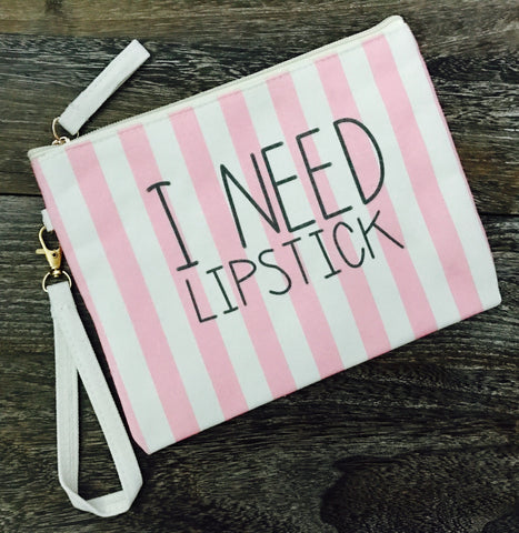 Pink Lipstick Makeup Bag