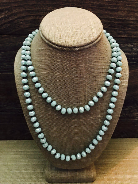 "36"" Hand Knotted Crystal Necklace- Light Blue"