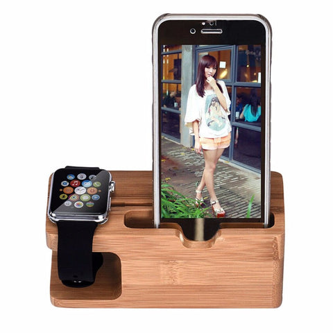 Bamboo Wood Charging Station Charger Dock Stand Holder For Apple Watch Phone For iPhone