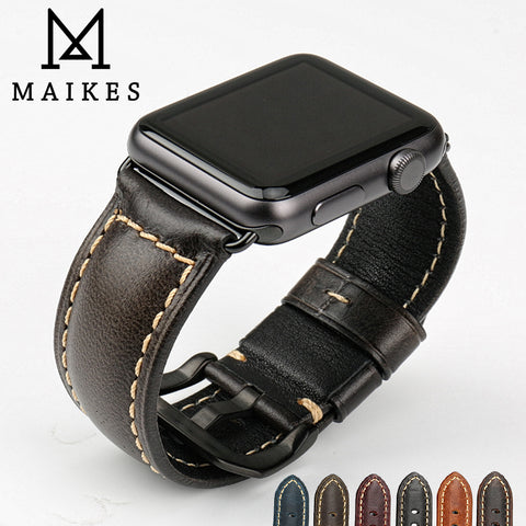 MAIKES Genuine leather watch bracelet accessories for apple watch