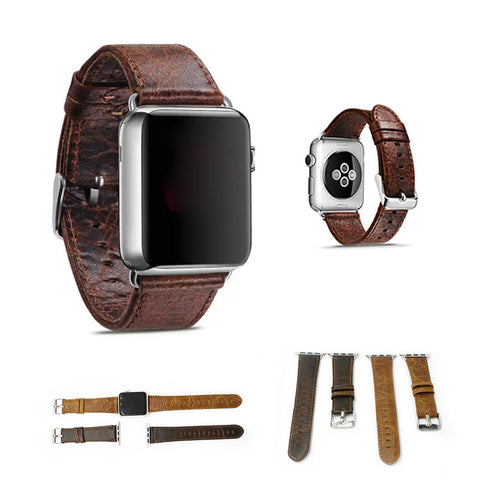 Vintage genuine crazy horse leather strap wrist for iwatch with adapters