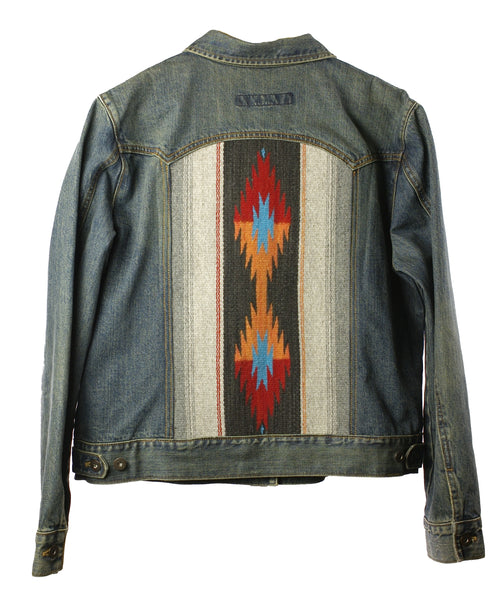 """Red & Orange Diamonds"" Denim Jacket (XL women's)"