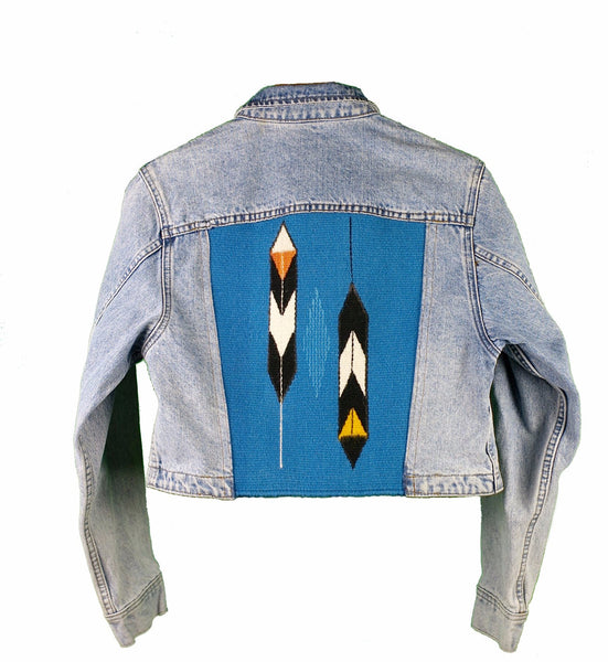 """ 2 Feathers "" Denim Jacket (M women's, cropped)"