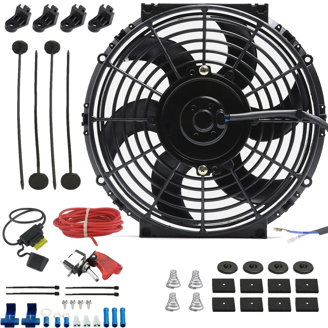 "10"" Inch 90w Electric Engine Radiator Cooling Fan 12 Volt Red LED Toggle Manual Switch Wiring Kit-Single Electric Fans-American Volt-American Volt"