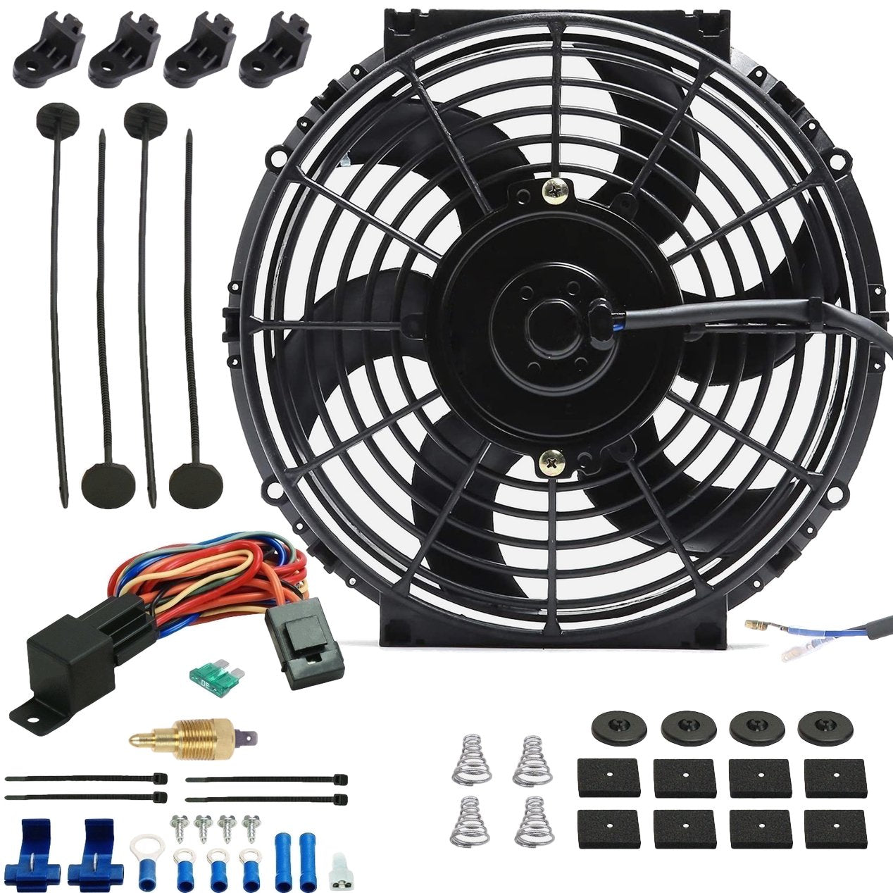 "10"" Inch 90w Motor Electric Radiator Cooling Fan NPT Ground Thermostat Temperature Switch Kit-Single Electric Fans-American Volt-1/8"" NPT-140'F On - 125'F Off-American Volt"
