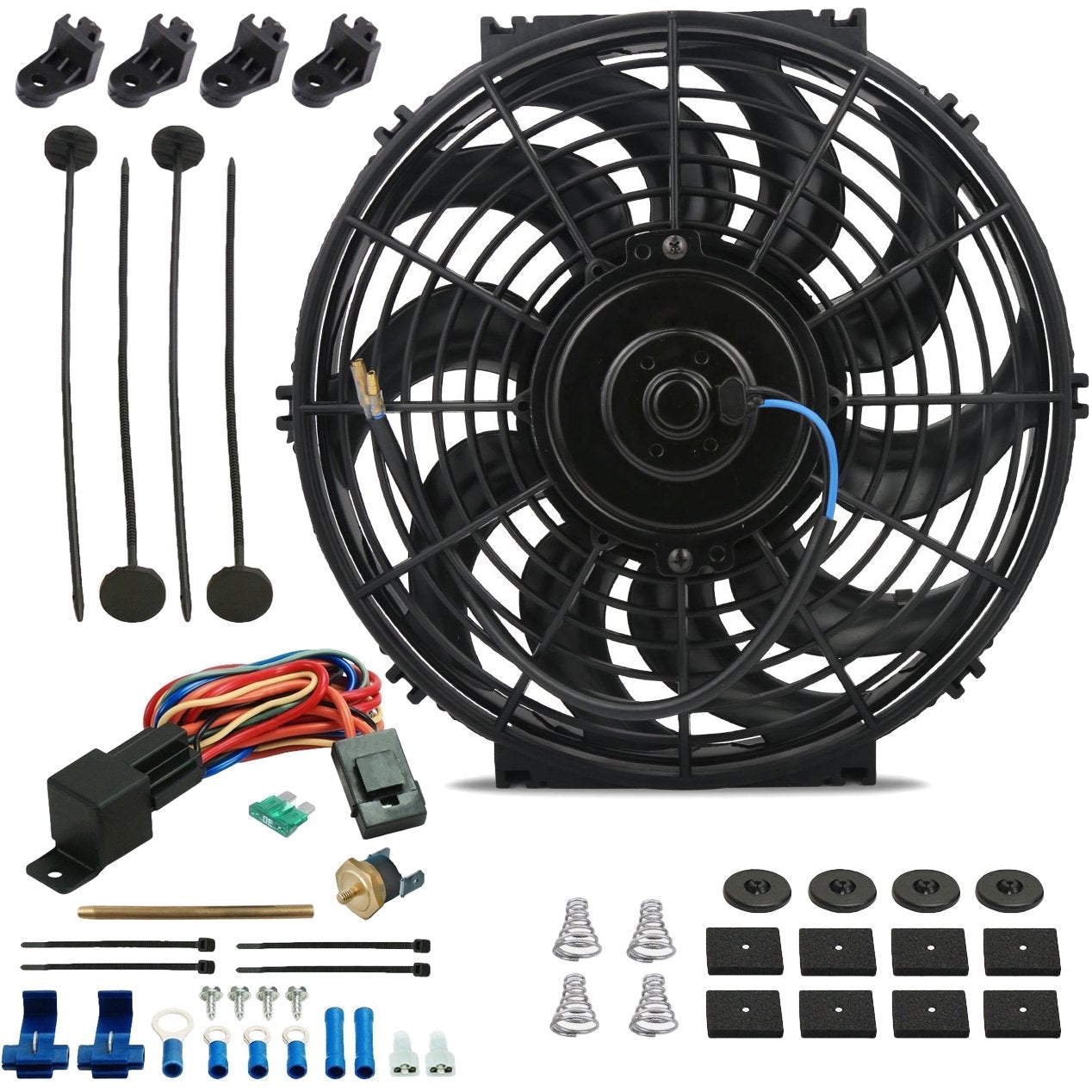 "12"" Inch 120w Electric Cooling Fan 12 Volt Push-In Radiator Fin Probe Thermostat Temp Switch Kit-Single Electric Fans-American Volt-3"" Inch-140'F On - 125'F Off-American Volt"
