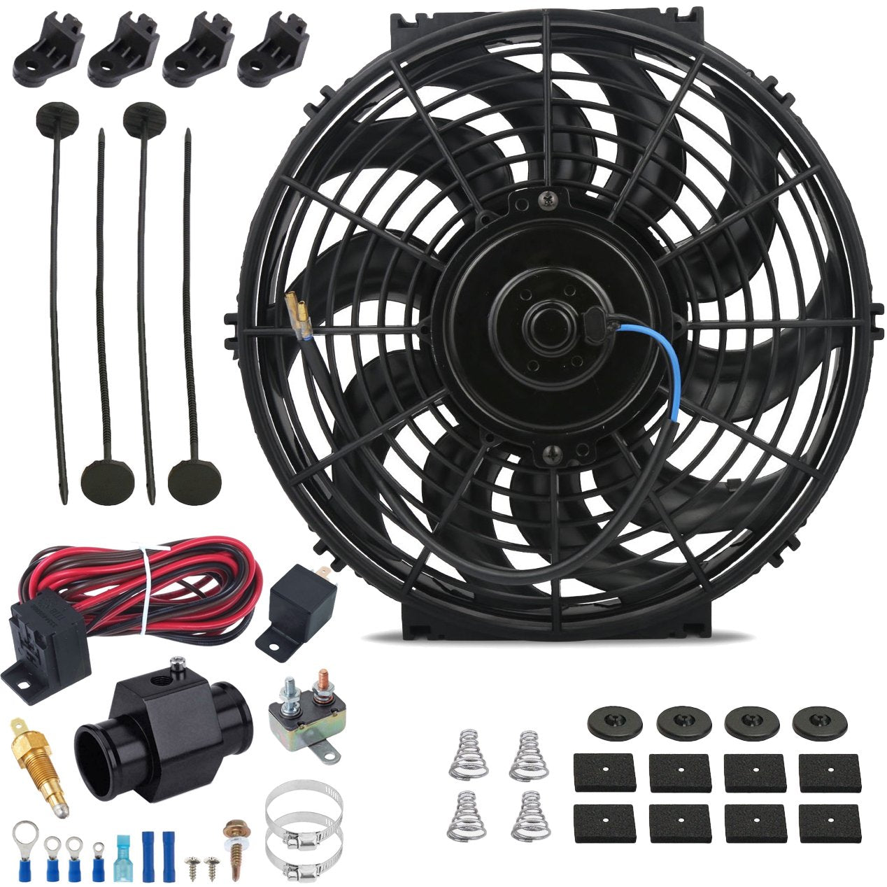 "12"" Inch 120w Electric Cooling Fans Radiator Hose In-Line Ground Thermostat Temp Switch Wiring Kit-Single Electric Fans-American Volt-26mm-140'F On - 125'F Off-American Volt"