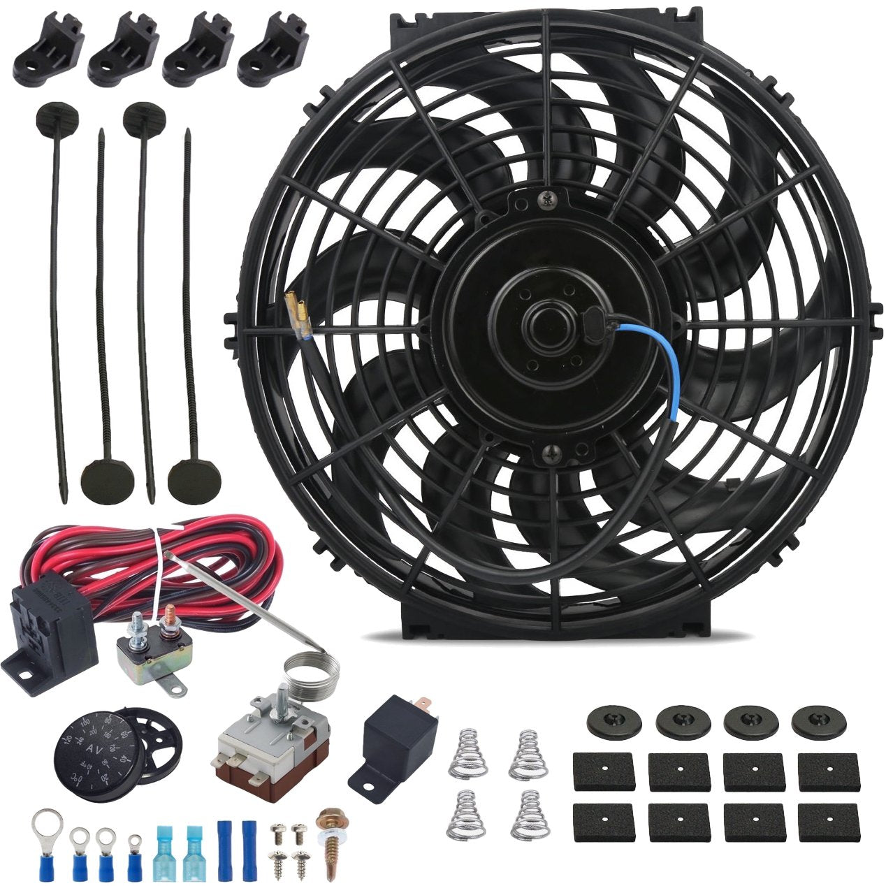 "12"" Inch 120w Electric Radiator Cooling Fan Adjustable Fin Probe Thermostat Temperature Switch Kit-Single Electric Fans-American Volt-American Volt"