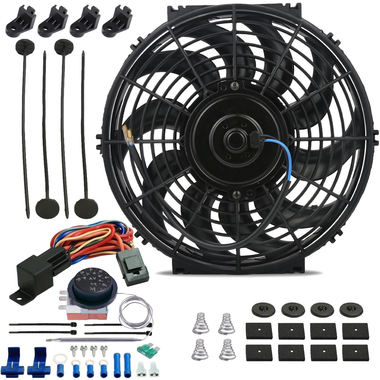 "12"" Inch 120w Electric Radiator Cooling Fan Adjustable Thermostat Temperature Wiring Switch Kit-Single Electric Fans-American Volt-American Volt"