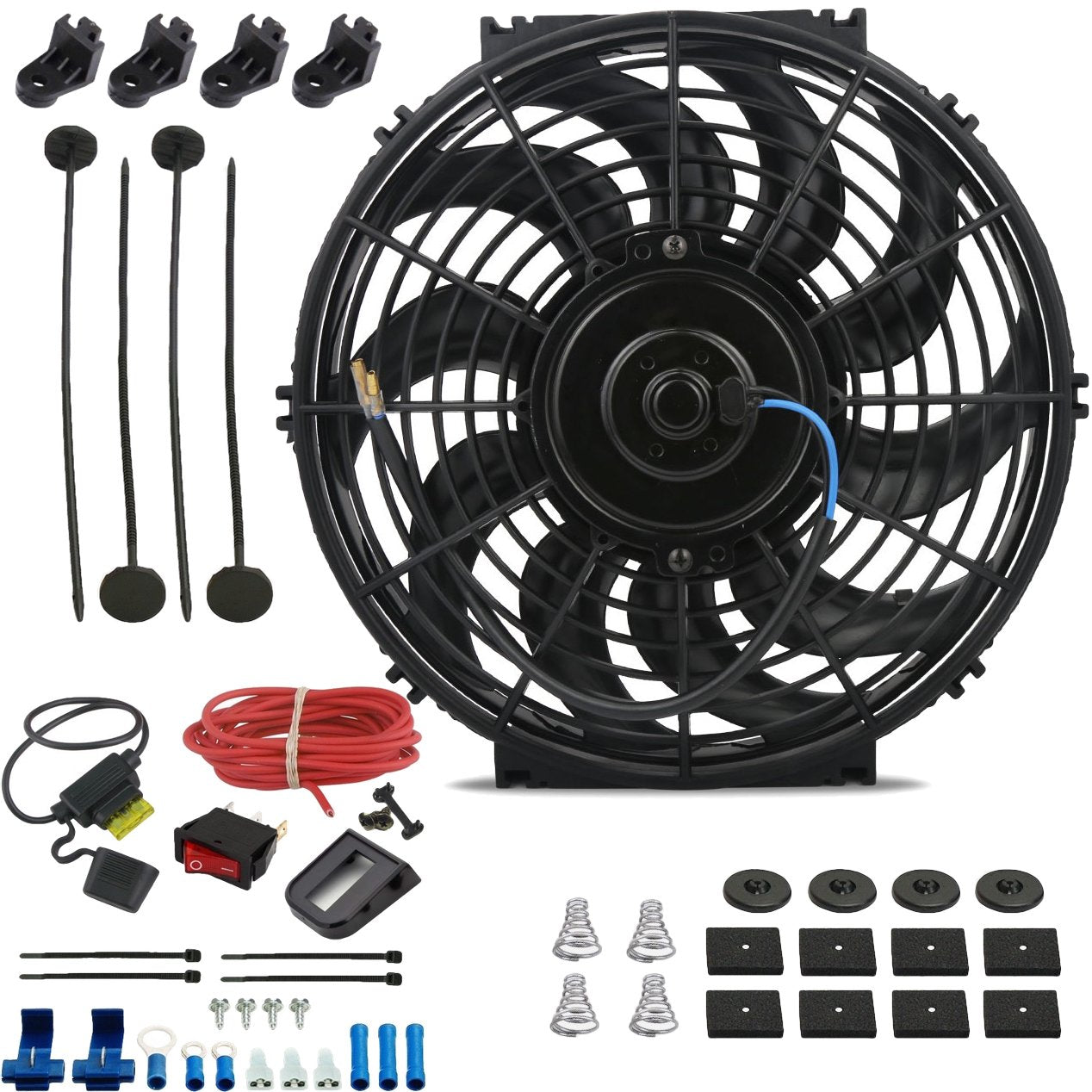 "12"" Inch 90w Electric Car Truck Radiator Cooling Fan 12 Volt Red Light Toggle Rocker Switch Wiring Kit-Single Electric Fans-American Volt-American Volt"