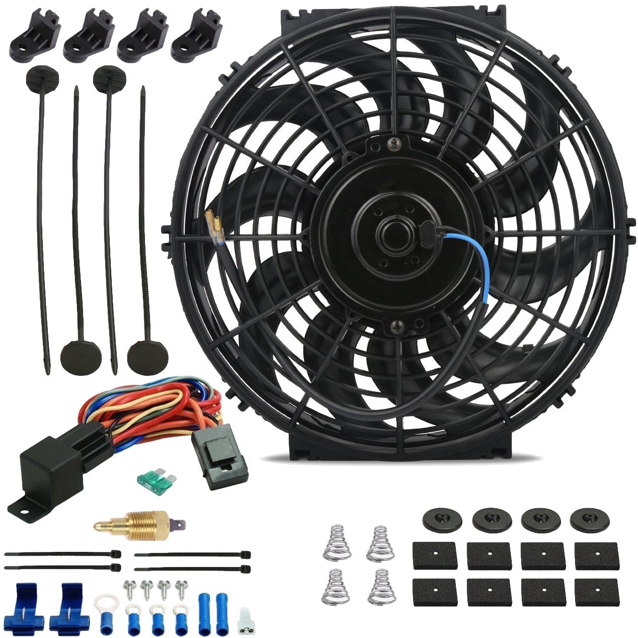 "12"" Inch 90w Motor Electric Radiator Cooling Fan NPT Ground Thermostat Temperature Switch Kit-Single Electric Fans-American Volt-1/8"" NPT-140'F On - 125'F Off-American Volt"