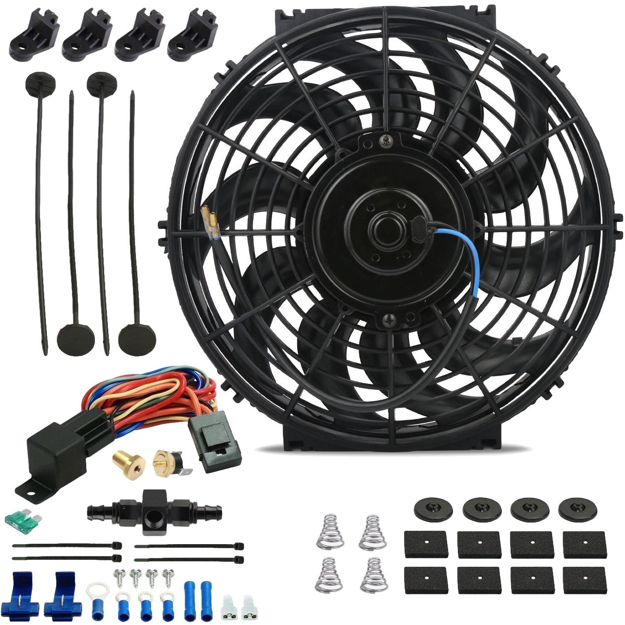 "12"" Inch Electric Engine Radiator Cooling Fan In-Line AN Hose Fitting Thermostat Temperature Switch Wire Kit-Single Electric Fans-American Volt-4AN-140'F On - 125'F Off-American Volt"
