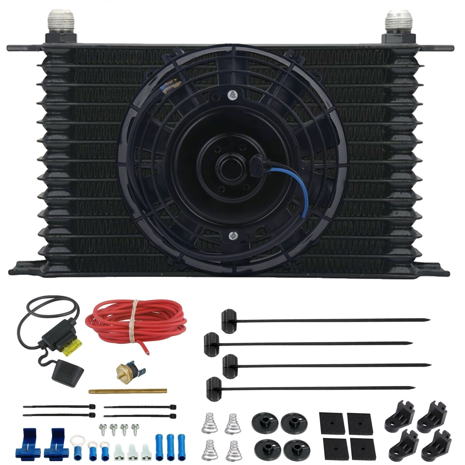"13 Row Engine Transmission Oil Cooler 6"" Inch Electric Cooling Fan Fin Thermostat Temperature Switch Kit-Oil Cooler-American Volt-10AN-3"" Inch-140'F On - 125'F Off-American Volt"