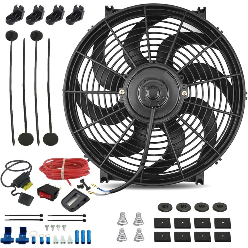 "14"" Inch 120w Electric Car Truck Radiator Cooling Fan 12 Volt Red Light Toggle Rocker Switch Wiring Kit-Single Electric Fans-American Volt-American Volt"