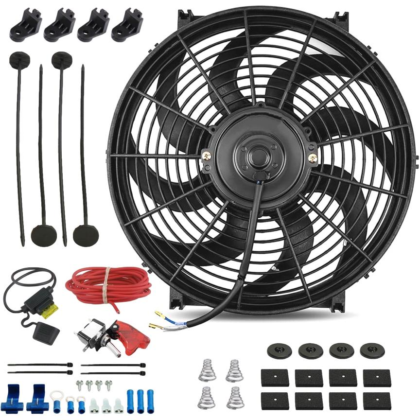 "14"" Inch 120w Electric Engine Radiator Cooling Fan 12 Volt Red LED Toggle Manual Switch Wiring Kit-Single Electric Fans-American Volt-American Volt"