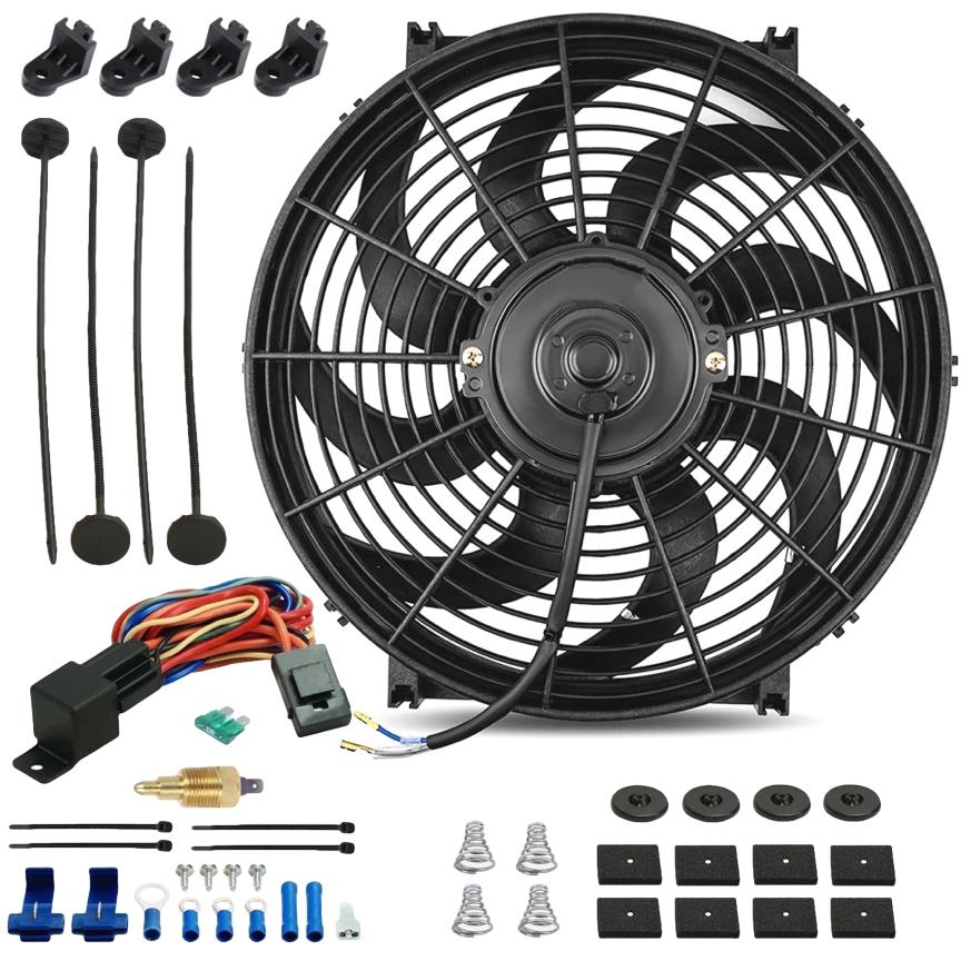 "14"" Inch 120w Motor Electric Radiator Cooling Fan NPT Ground Thermostat Temperature Switch Kit-Single Electric Fans-American Volt-1/8"" NPT-140'F On - 125'F Off-American Volt"