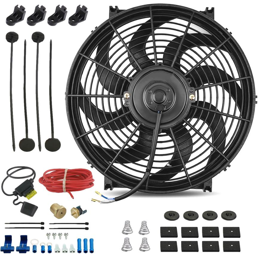 "14"" Inch Electric Auto Radiator Cooling Fan Thermostat Temperature Switch In-Line Fuse Wire Kit-Single Electric Fans-American Volt-1/8"" NPT-140'F On - 125'F Off-American Volt"