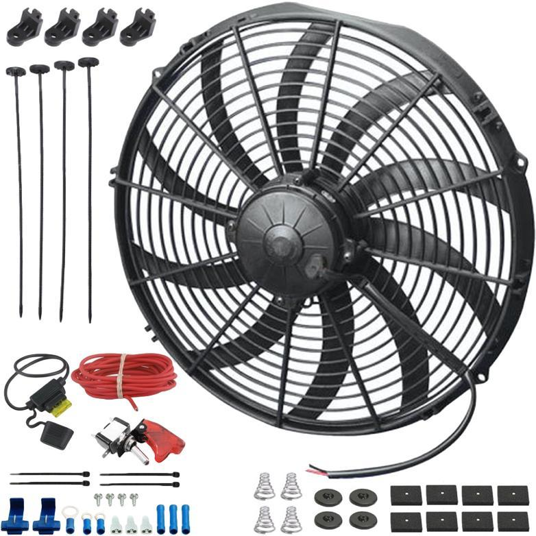 "14"" Inch Upgraded 180w Motor Electric Radiator Cooling Fan 12V Red LED Toggle Flip Switch Wiring Kit-Single Electric Fans-American Volt-American Volt"