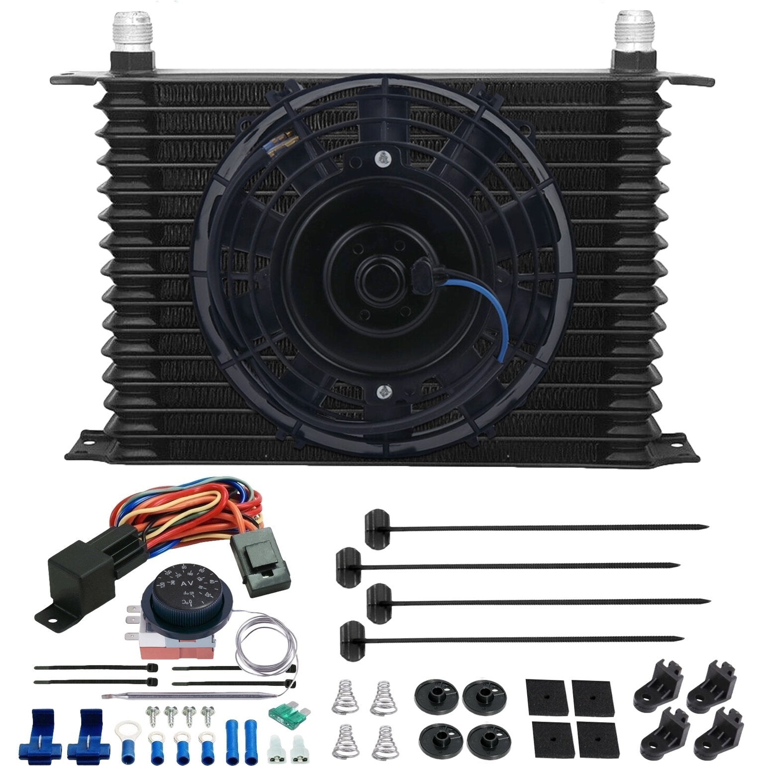 "15 Row Engine Transmission Oil Cooler 8"" Inch Electric Cooling Fan Adjustable Thermostat Wiring Kit-Oil Cooler-American Volt-4AN-American Volt"