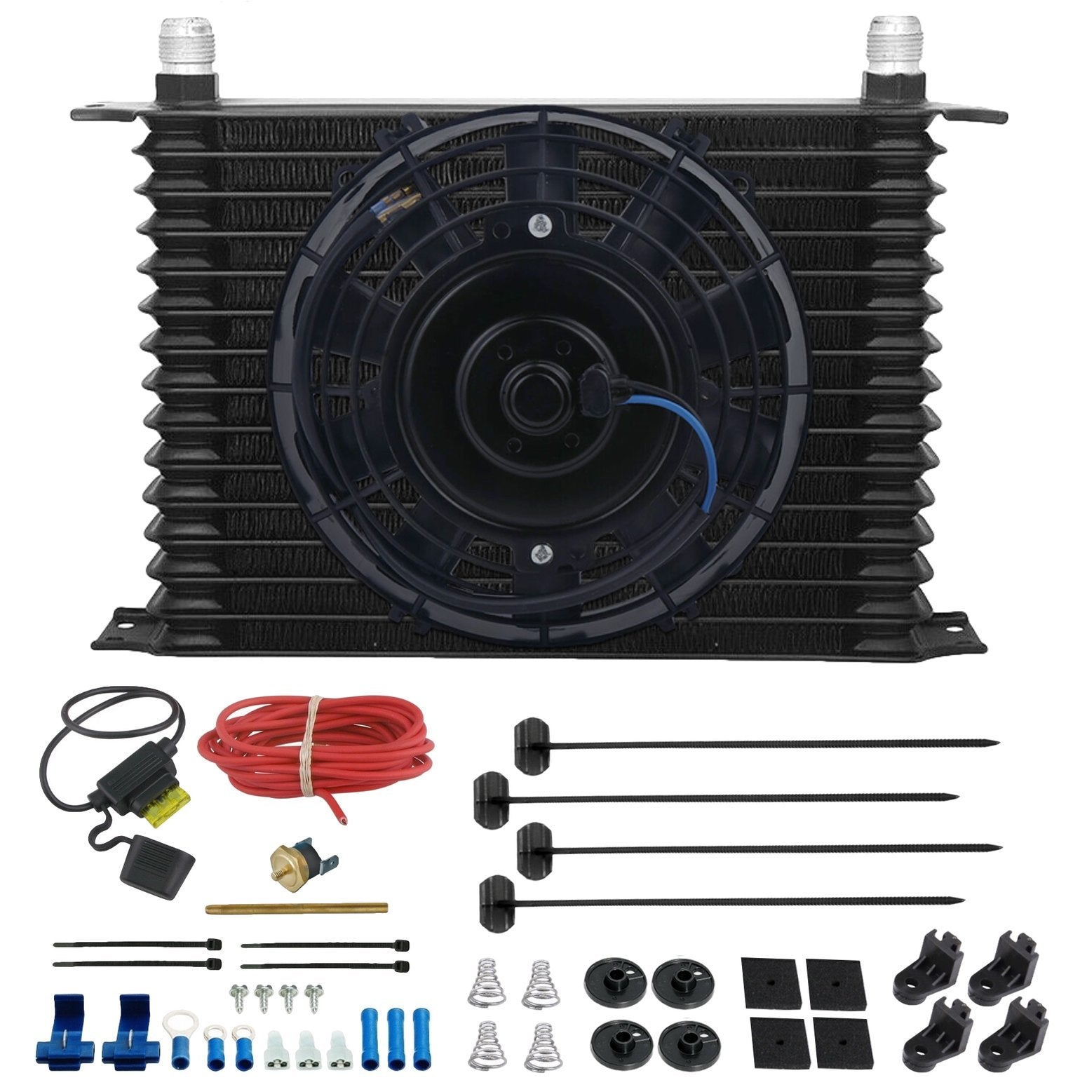 "15 Row Engine Transmission Oil Cooler 8"" Inch Electric Cooling Fan Fin Thermostat Temperature Switch Kit-Oil Cooler-American Volt-10AN-3"" Inch-140'F On - 125'F Off-American Volt"