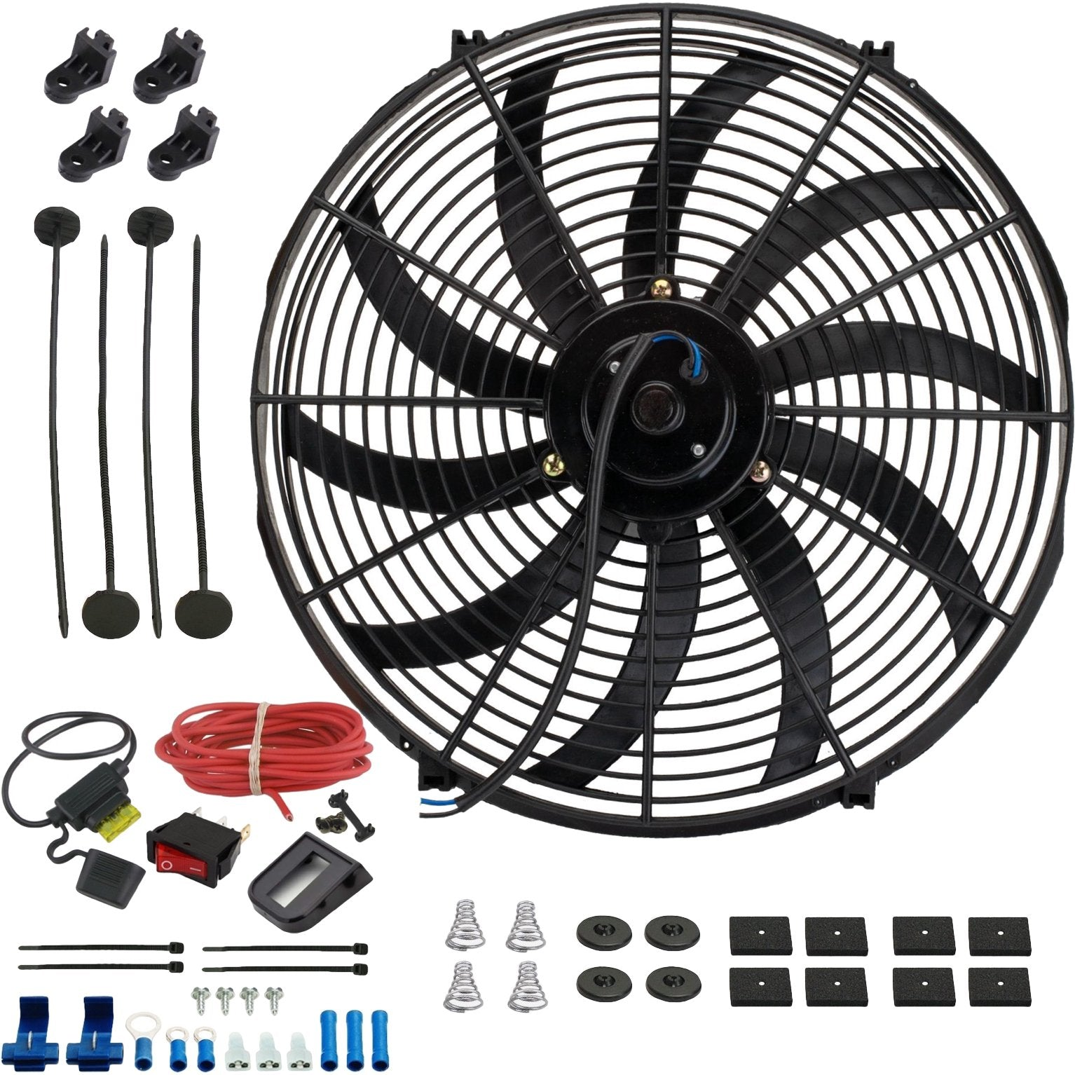 "16"" Inch 130w Electric Car Truck Radiator Cooling Fan 12 Volt Red Light Toggle Rocker Switch Wiring Kit-Single Electric Fans-American Volt-American Volt"