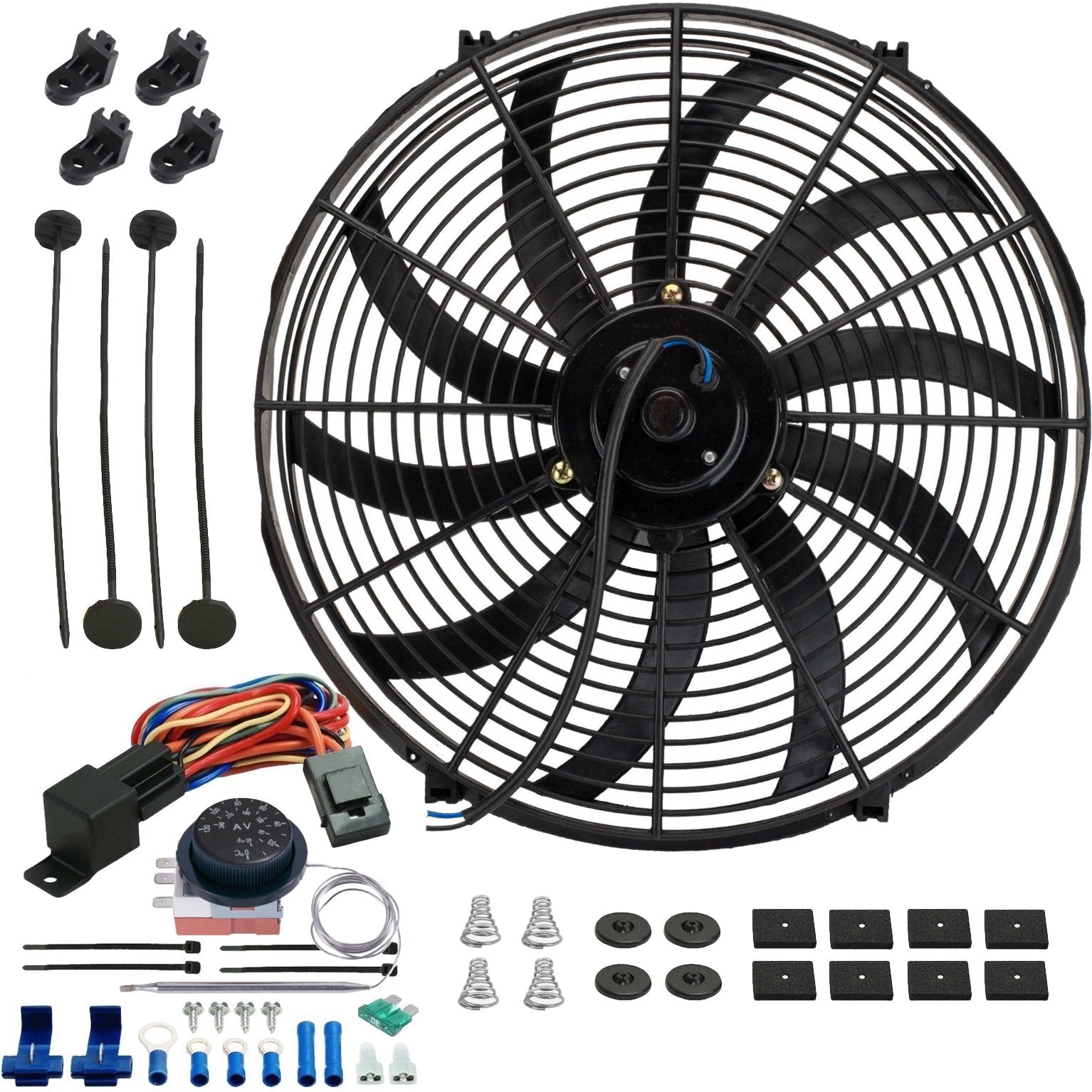 "16"" Inch 130w Electric Radiator Cooling Fan Adjustable Thermostat Temperature Wiring Switch Kit-Single Electric Fans-American Volt-American Volt"