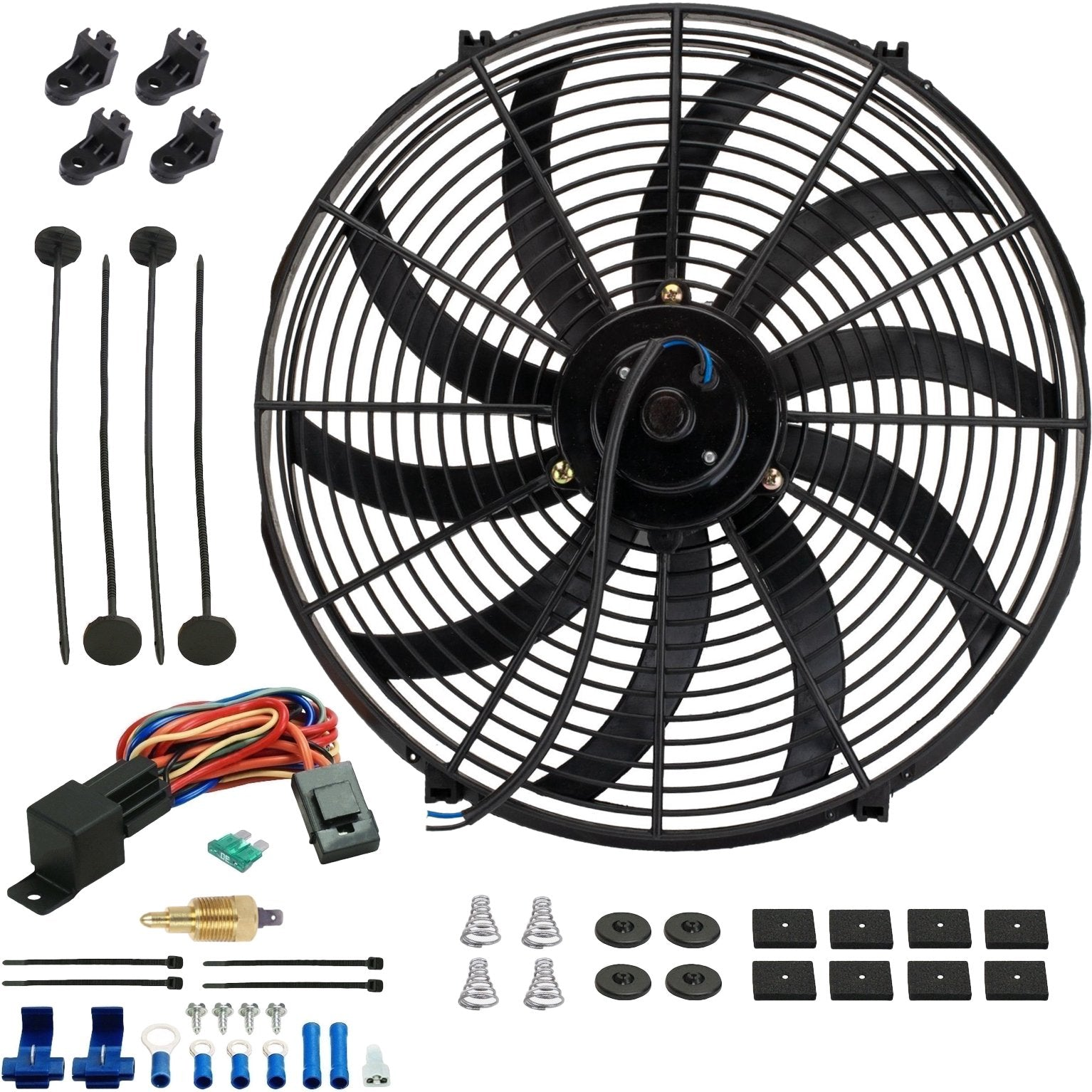 "16"" Inch 130w Motor Electric Radiator Cooling Fan NPT Ground Thermostat Temperature Switch Kit-Single Electric Fans-American Volt-1/8"" NPT-140'F On - 125'F Off-American Volt"