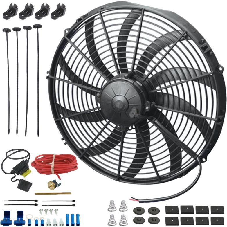 "16"" Inch 180w Electric Cooling Fan Radiator Fin Probe Thermostat Temperature Fuse Wire Switch Kit-Single Electric Fans-American Volt-3"" Inch-140'F On - 125'F Off-American Volt"