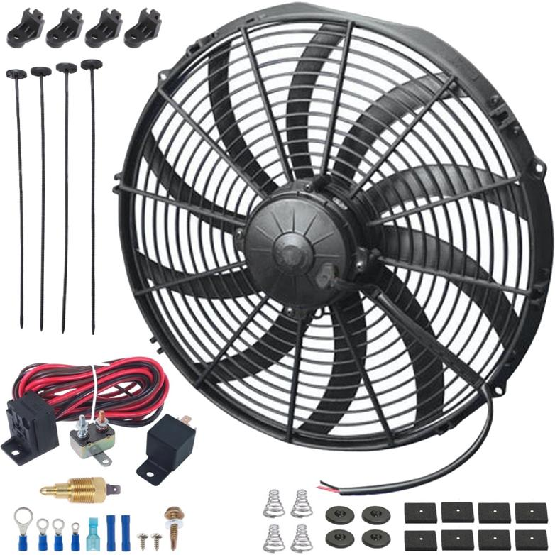 "16"" Inch 180W Motor Electric Cooling Radiator Fan 12 Volt High CFM Thermostat Wiring Switch Kit-Single Electric Fans-American Volt-1/8"" NPT-140'F On - 125'F Off-American Volt"