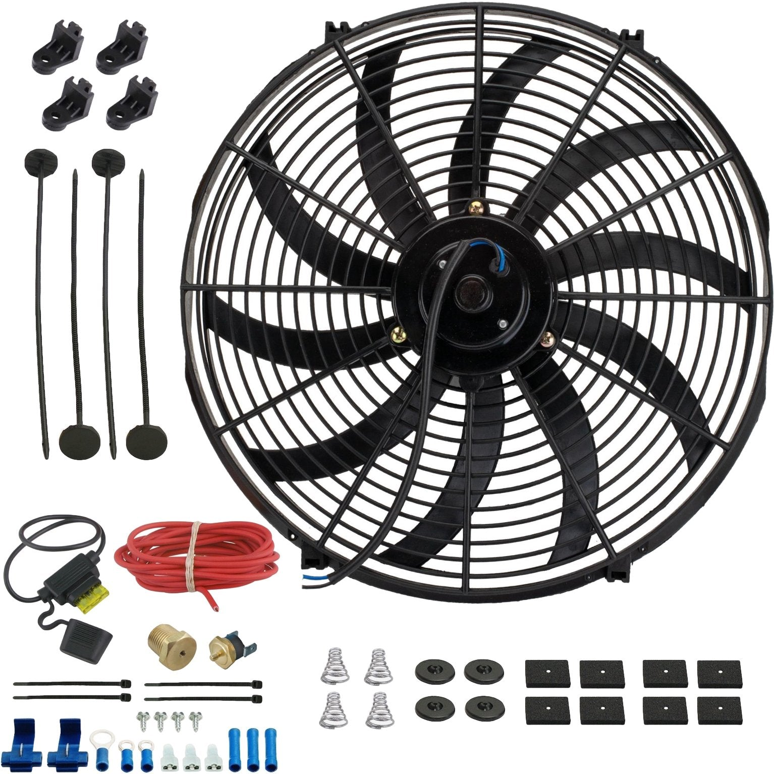 "16"" Inch Electric Auto Radiator Cooling Fan Thermostat Temperature Switch In-Line Fuse Wire Kit-Single Electric Fans-American Volt-1/8"" NPT-140'F On - 125'F Off-American Volt"