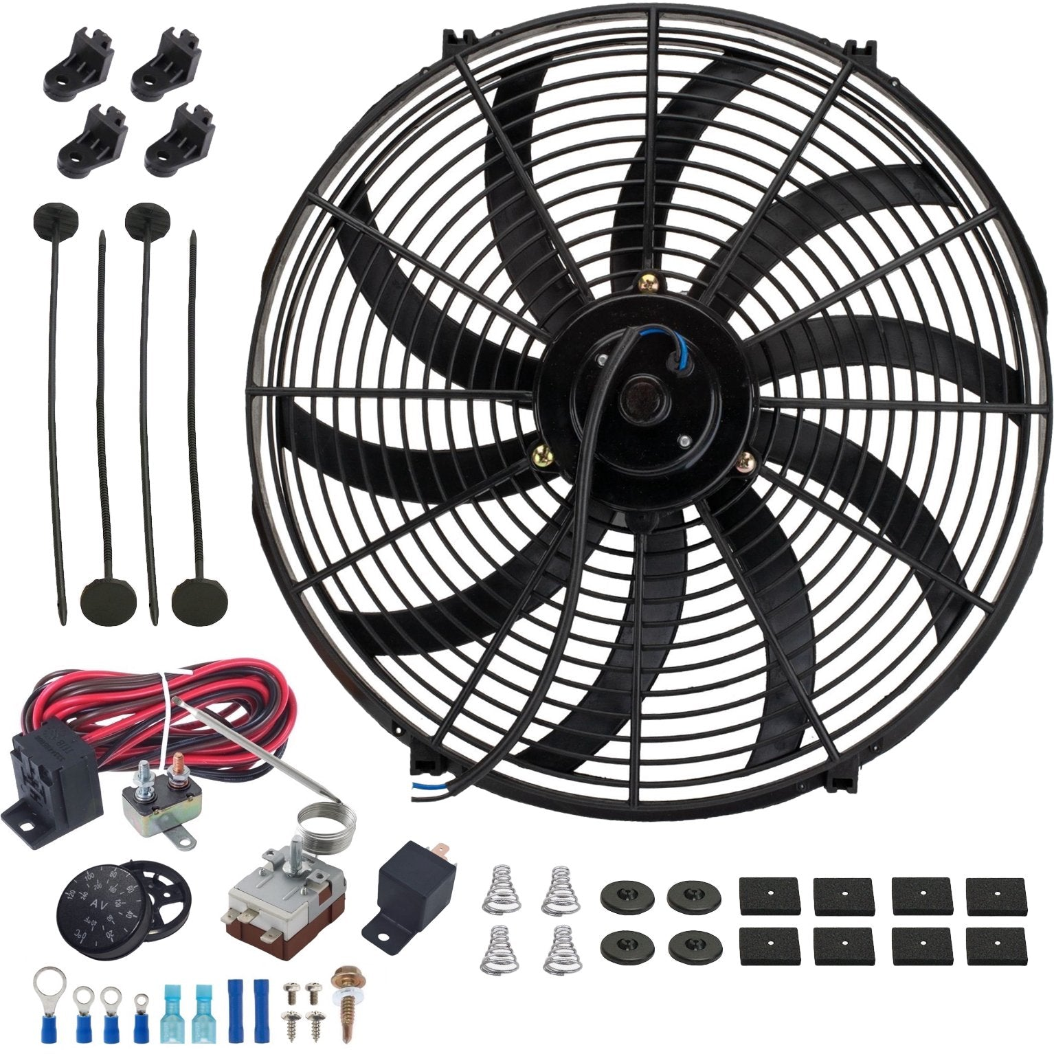 "16"" Inch Slim Automotive Electric Cooling Fan Adjustable Radiator Fin Probe Thermostat Switch Kit-Single Electric Fans-American Volt"