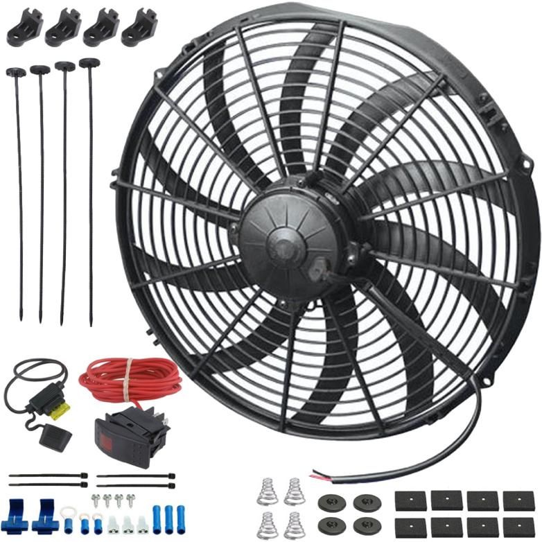 "16"" Inch Upgraded 180w Electric Radiator Cooling Fan 12 Volt Manual Toggle Red Rocker Switch Wiring Kit-Single Electric Fans-American Volt-American Volt"