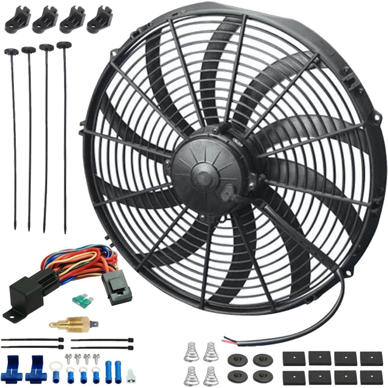 "16"" Inch 180w Motor Electric Radiator Cooling Fan NPT Ground Thermostat Temperature Switch Kit"