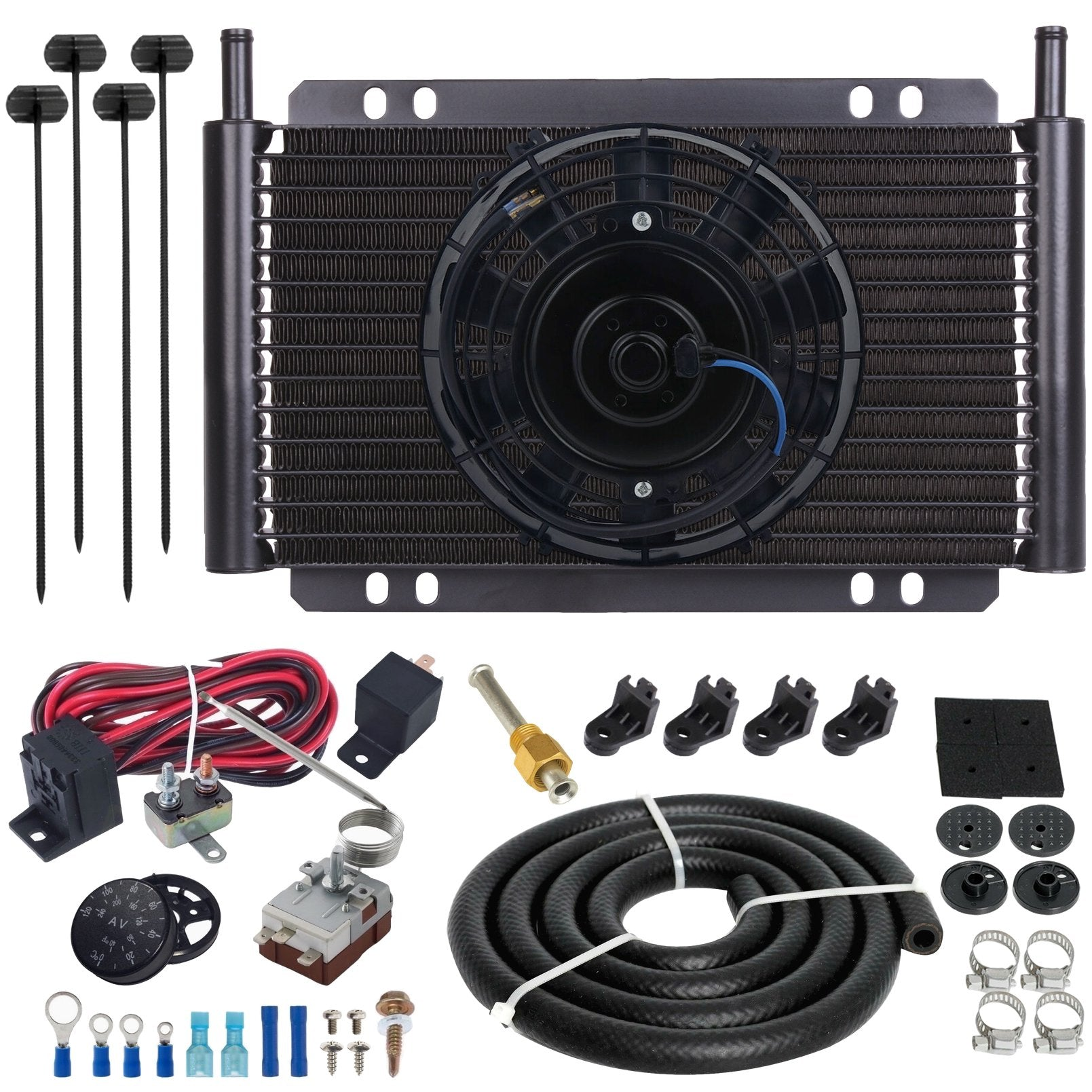 "17 Row Engine Transmission Oil Cooler 6"" Electric Fan Adjustable Thermostat Controller Switch Kit-Oil Cooler-American Volt-6AN-American Volt"