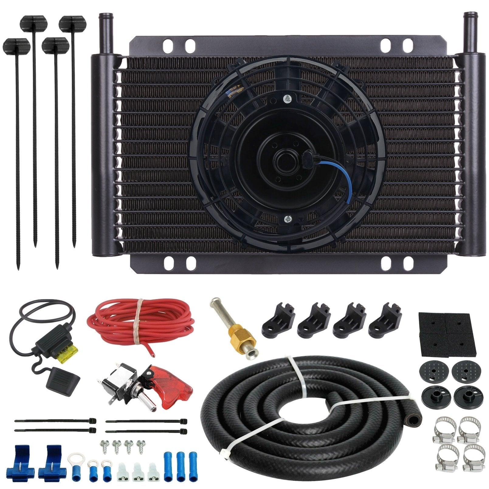"17 Row Engine Transmission Oil Cooler 6"" Inch Electric Cooling Fan 12 Volt Red Toggle Switch Wiring Kit-Oil Cooler-American Volt-6AN-American Volt"
