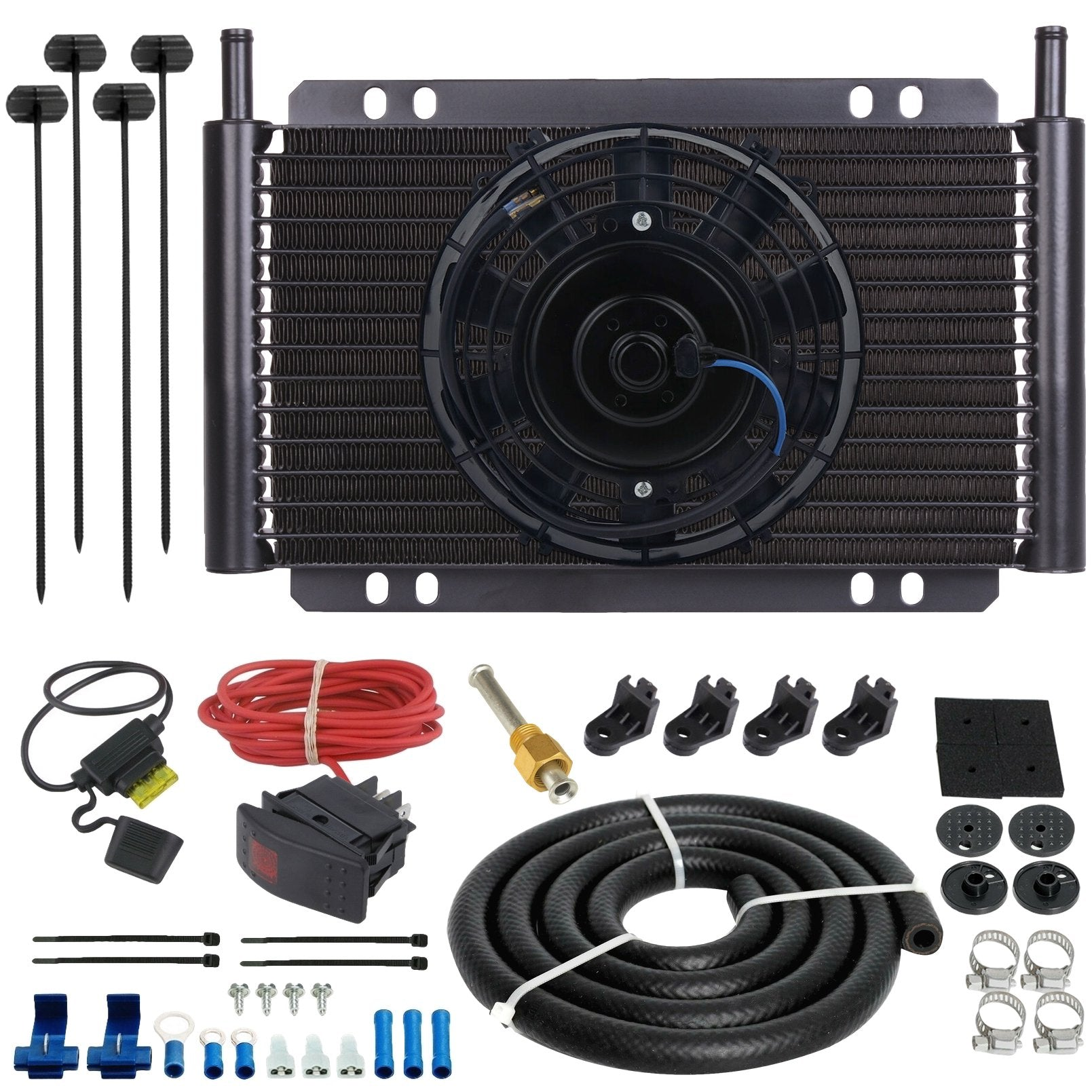 "17 Row Engine Transmission Oil Cooler 6"" Inch Electric Cooling Fan Toggle Rocker Bar Switch Wiring Kit-Oil Cooler-American Volt-6AN-American Volt"