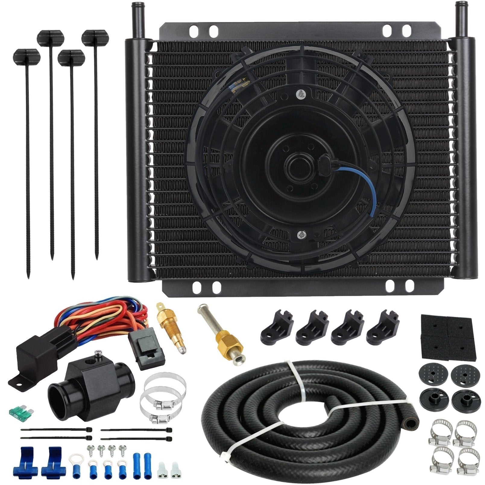23 Row Engine Transmission Oil Cooler 8 Inch Electric Cooling Fan In-Hose Grounding Temp Switch Kit-Oil Cooler-American Volt-6AN-26mm-140'F On - 125'F Off-American Volt