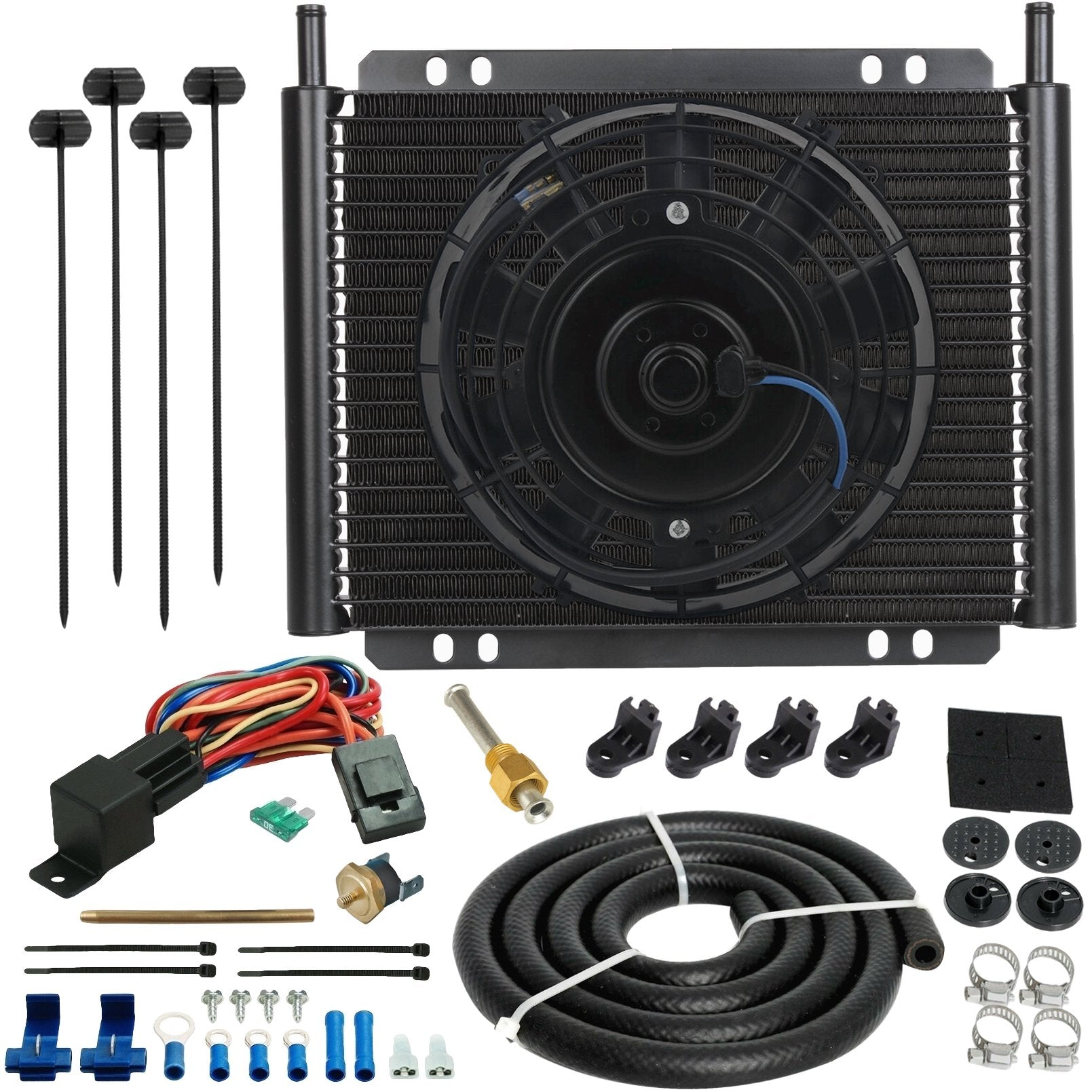 "23 Row Engine Transmission Oil Cooler 8 Inch Radiator Electric Cooling Fan Fin Probe Thermostat Kit-Oil Cooler-American Volt-6AN-3"" Inch-140'F On - 125'F Off-American Volt"
