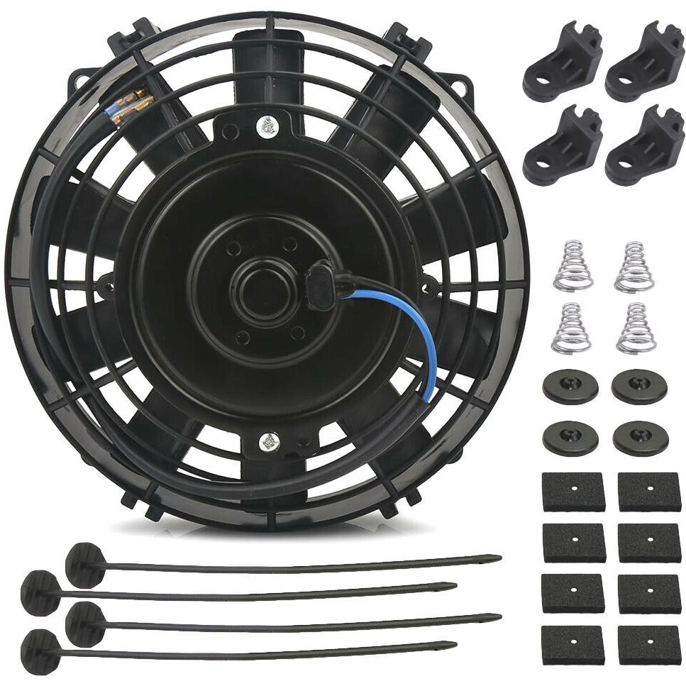 "23 Row Heavy Duty Engine Transmission Oil Cooler 8"" Electric Fan In-Line Hose Thermostat Switch Kit-Oil Cooler-American Volt-6AN-140'F On - 125'F Off-American Volt"