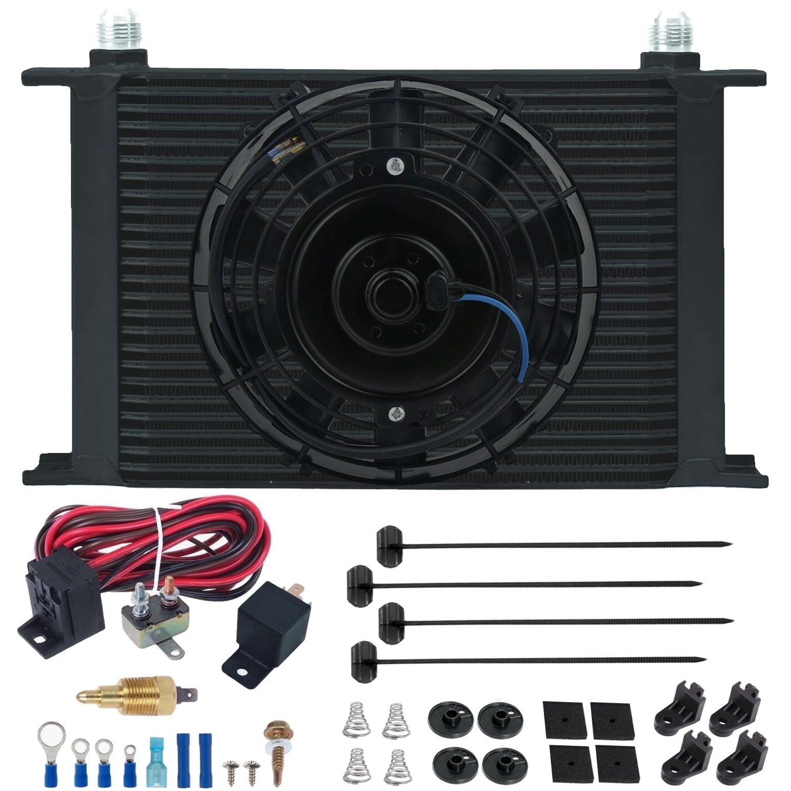 "25 Row Engine Transmission Oil Cooler 6"" Inch Electric Fan 12 Volt Engine Cooling Thread-In Grounding Thermostat Switch Kit-Oil Cooler-American Volt-10AN-1/8"" NPT-140'F On - 125'F Off-American Volt"