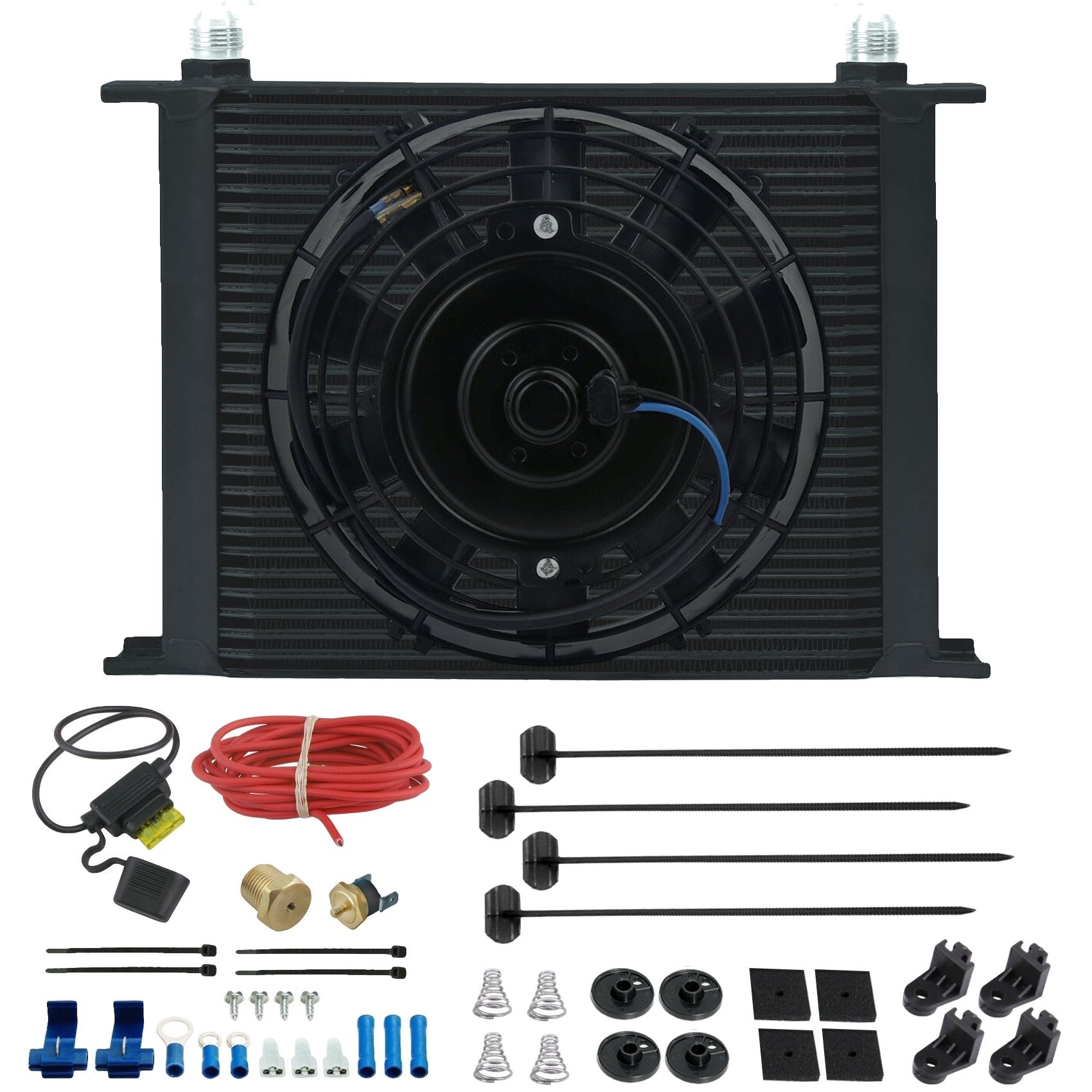 "30 Row Engine Transmission Oil Cooler 8"" Inch Electric Fan Thermostat Temperature Switch In-Line Wire Kit-Oil Cooler-American Volt-10AN-1/8"" NPT-140'F On - 125'F Off-American Volt"