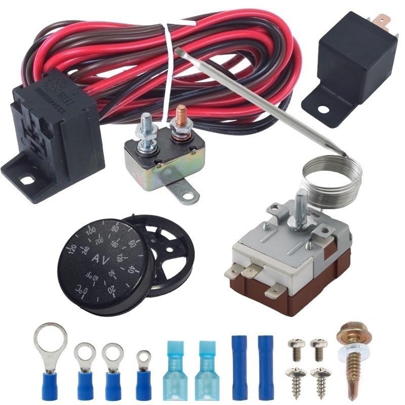 "30 Row Engine Transmission Oil Cooler 9"" Electric Fan Adjustable Thermostat Controller Switch Kit-Oil Cooler-American Volt-4AN-American Volt"