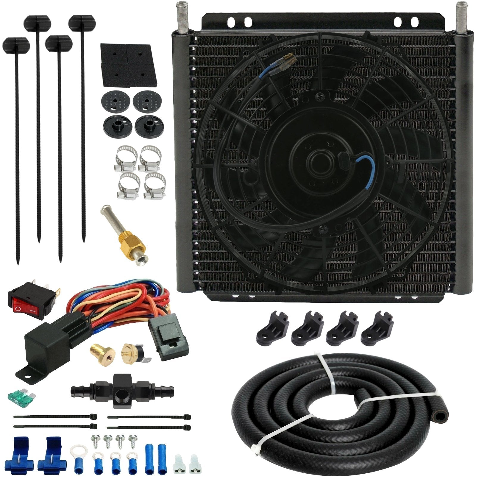 30 Row Engine Transmission Oil Cooler Electric Fan In-Line Hose Thermostat Sensor Switch Kit-Oil Cooler-American Volt-6AN-140'F On - 125'F Off-American Volt
