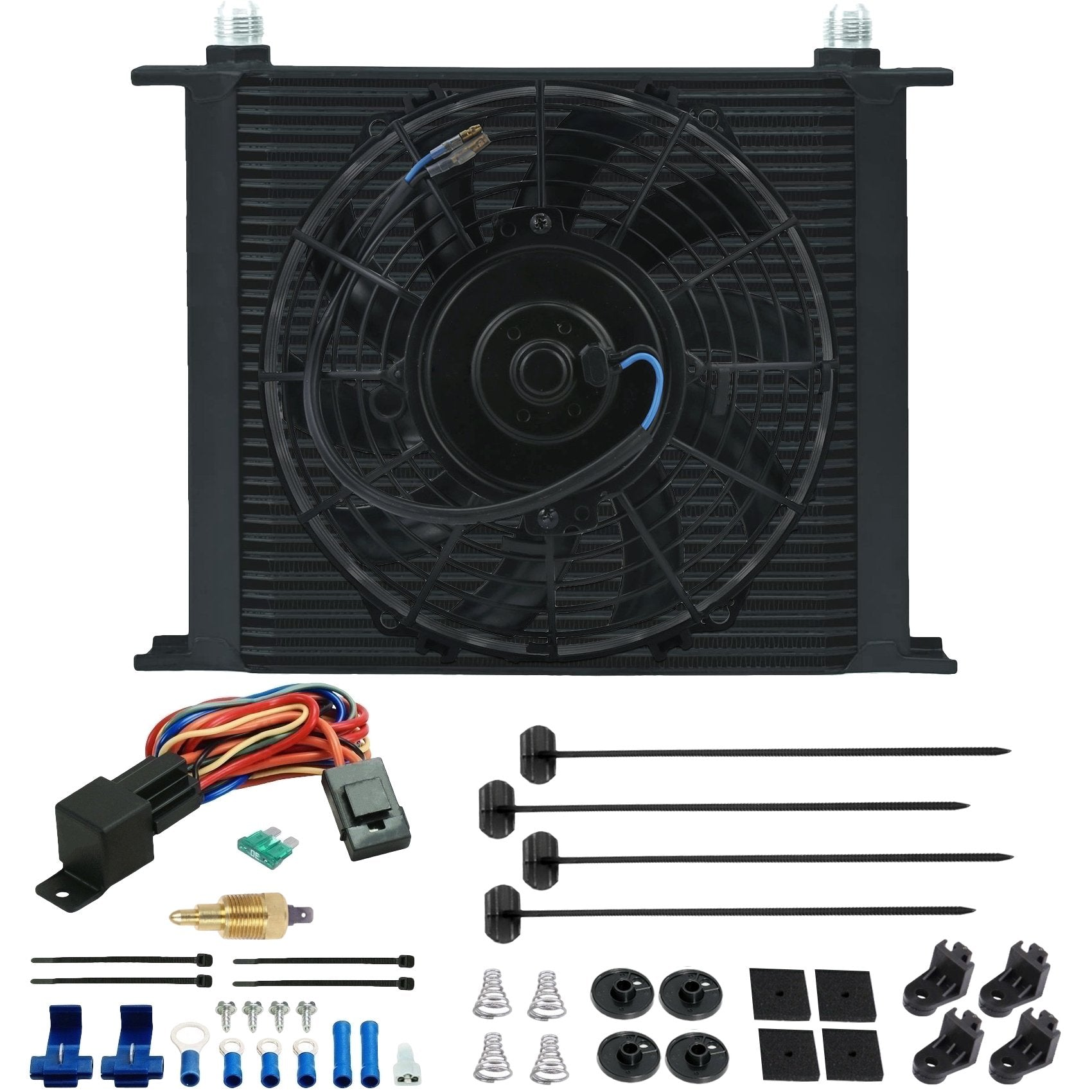 "34 Row Engine Transmission Oil Cooler 9"" Inch Electric Cooling Fan Ground Thermostat Temp Switch Kit-Oil Cooler-American Volt-10AN-1/8"" NPT-140'F On - 125'F Off-American Volt"