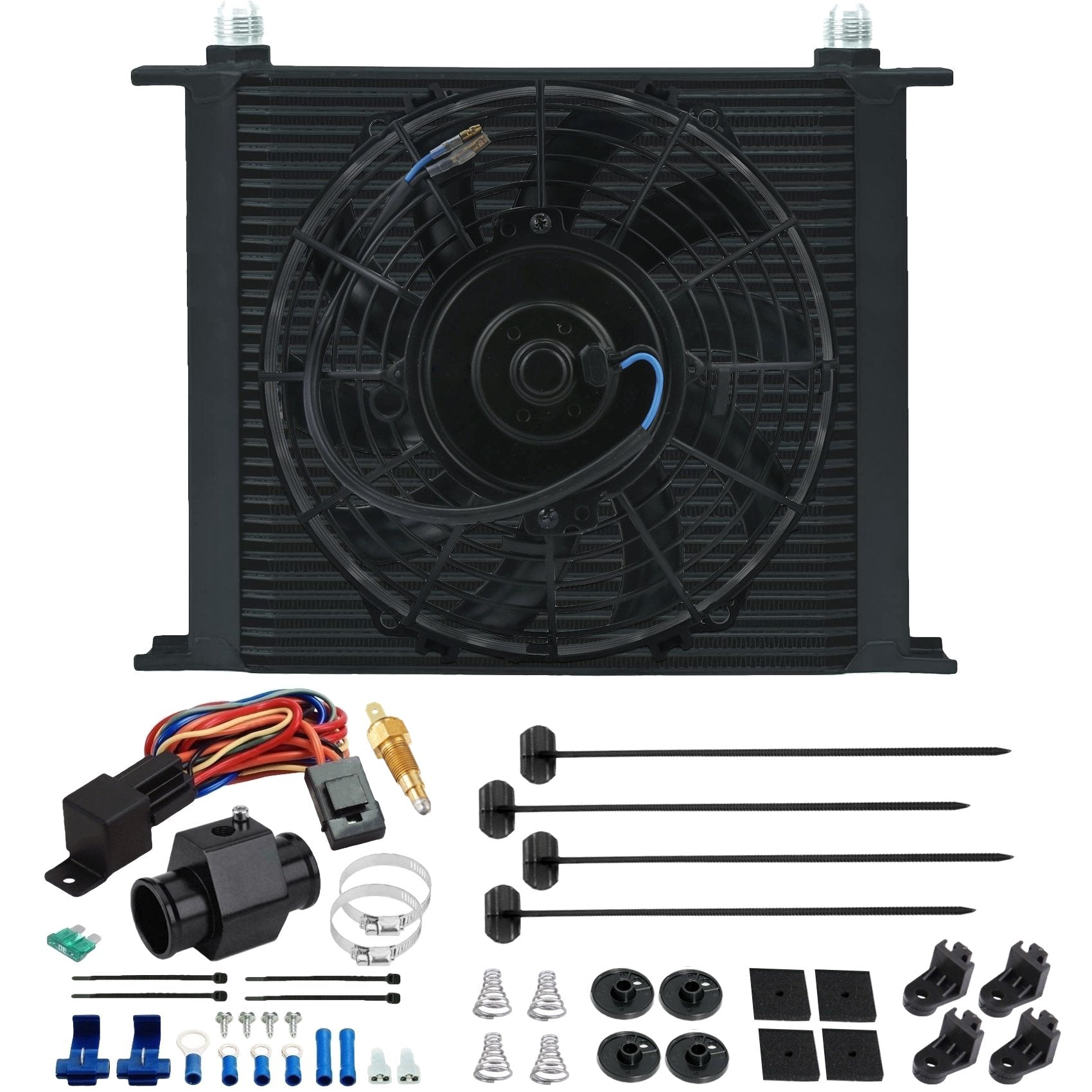 "34 Row Engine Transmission Oil Cooler 9"" Inch Electric Cooling Fan In-Hose Grounding Temp Switch Kit-Oil Cooler-American Volt-10AN-26mm-140'F On - 125'F Off-American Volt"