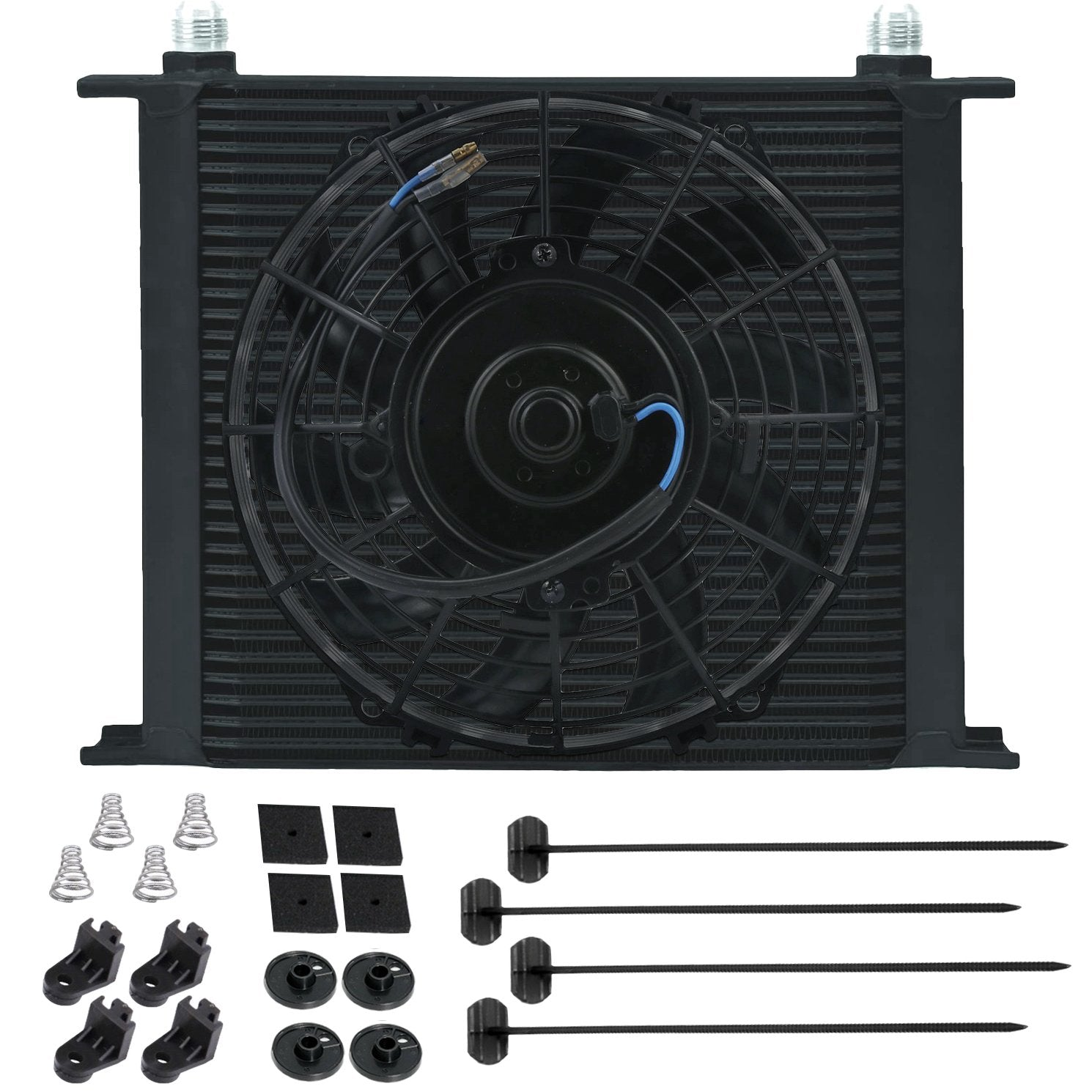 "34 Row Universal Heavy Duty Aluminum Engine Transmission Cooler 9"" Inch Electric Cooling Fan Kit-Oil Cooler-American Volt-4AN-American Volt"