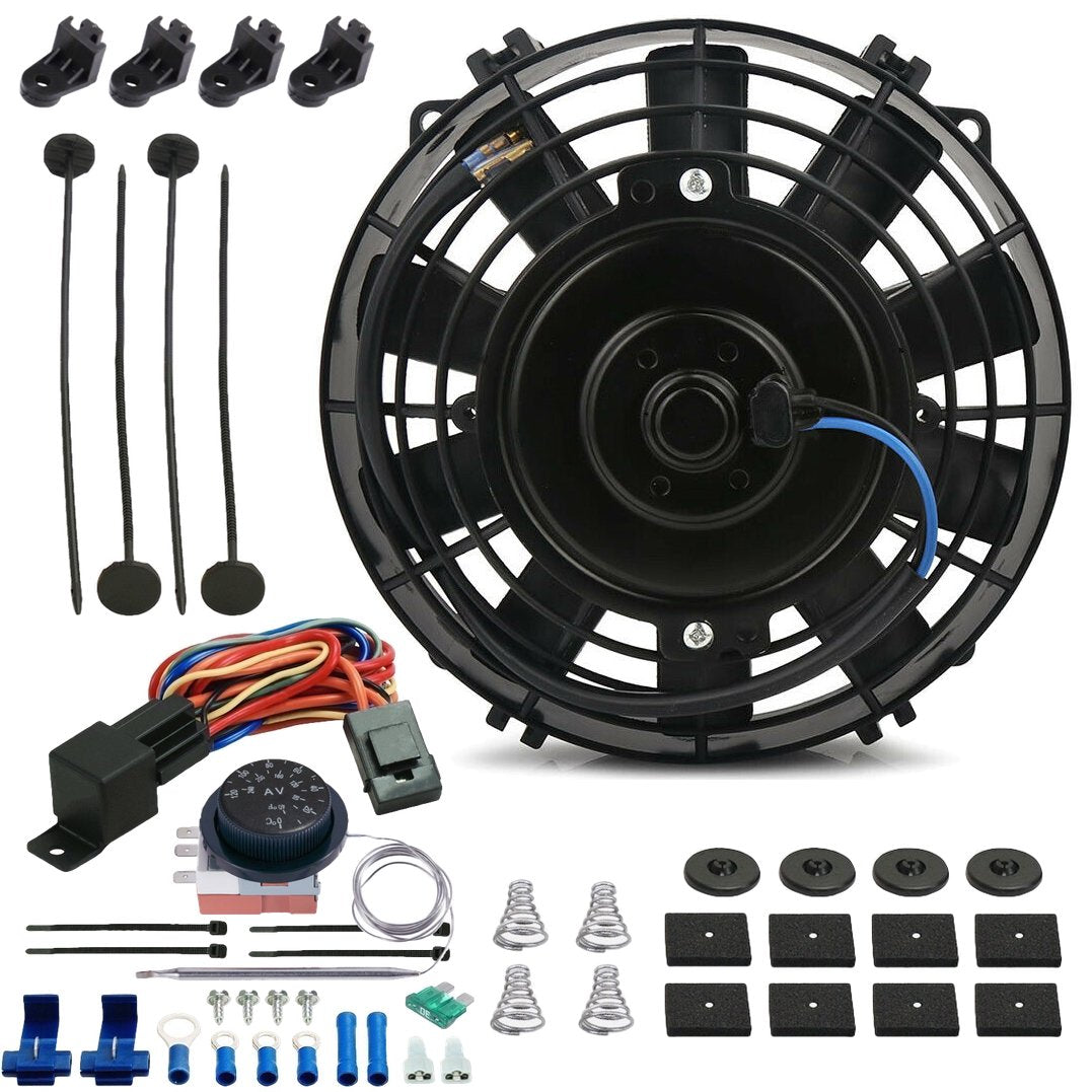"6"" Inch 90w Electric Radiator Cooling Fan Adjustable Thermostat Temperature Wiring Switch Kit-Single Electric Fans-American Volt-American Volt"
