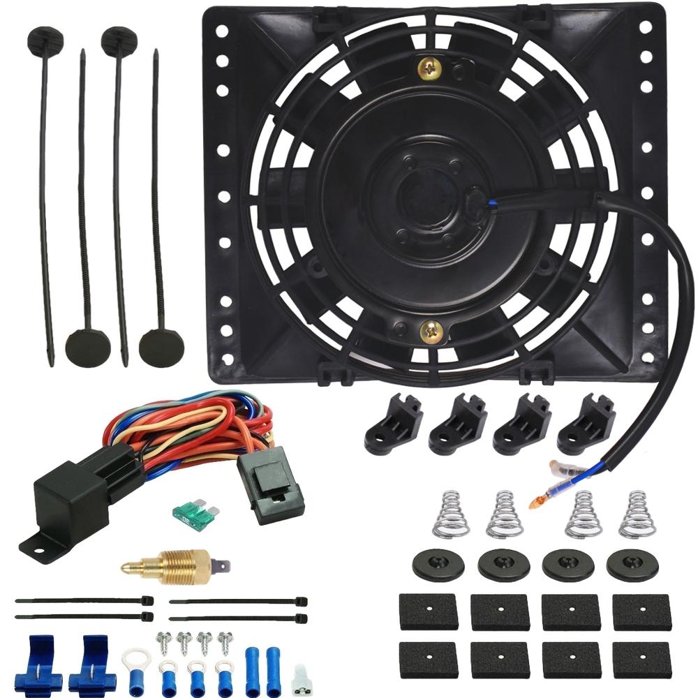 "6"" Inch 90w Motor Electric Radiator Cooling Fan NPT Ground Thermostat Temperature Switch Kit-Single Electric Fans-American Volt-1/8"" NPT-140'F On - 125'F Off-American Volt"