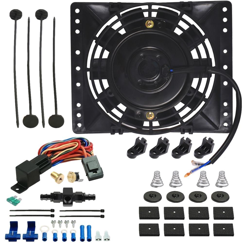 "6"" Inch Electric Engine Radiator Cooling Fan In-Line AN Hose Fitting Thermostat Temperature Switch Wire Kit-Single Electric Fans-American Volt-4AN-140'F On - 125'F Off-American Volt"