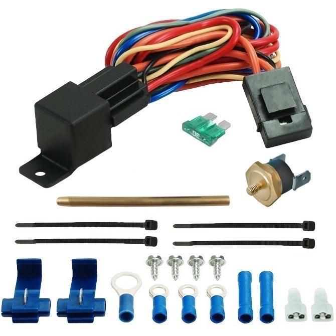 "6"" Inch Electric Slim Engine Transmission Cooler Fan 12V Push-In Fin Probe Thermostat Switch Kit-Single Electric Fans-American Volt-3"" Inch-140'F On - 125'F Off-American Volt"